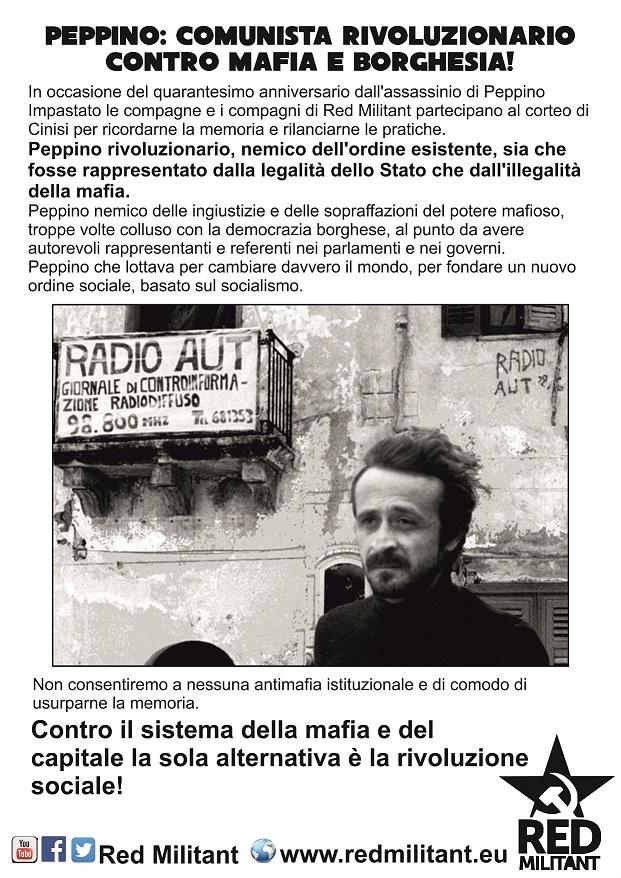 Mafia Peppino Impastato Cinisi 9 maggio Red Militant